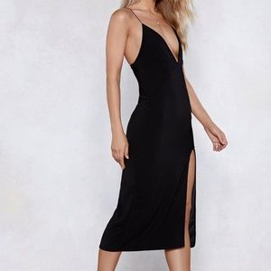 Nasty Gal thigh split Midi Dress , Size 6 NWT